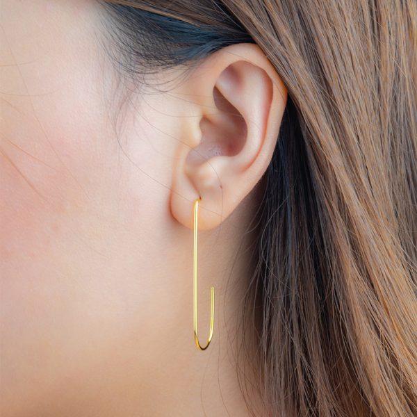 Jenner Geometric Hoop Gold Silver earring